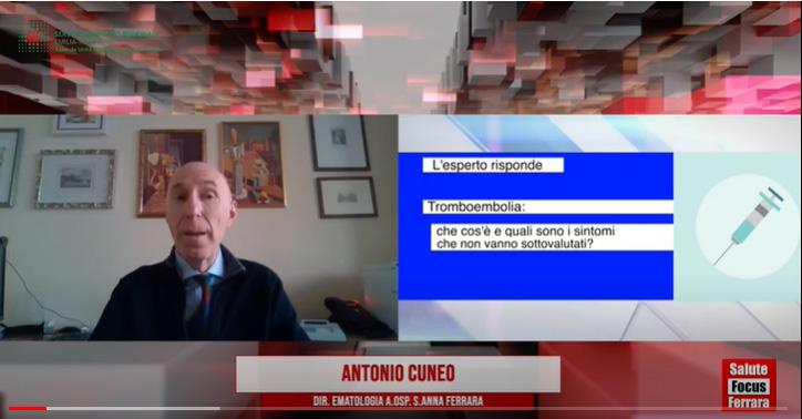 AUSL-Fe: L'ematologo Cuneo: vaccini e trombosi, i sintomi da non sottovalutare